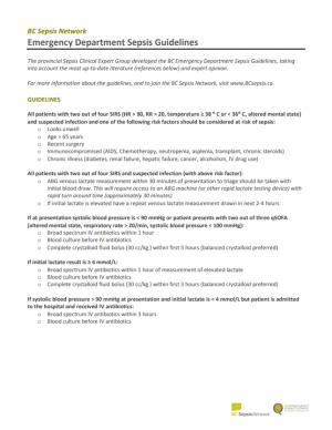 2017 Emergency Department Sepsis Guidelines
