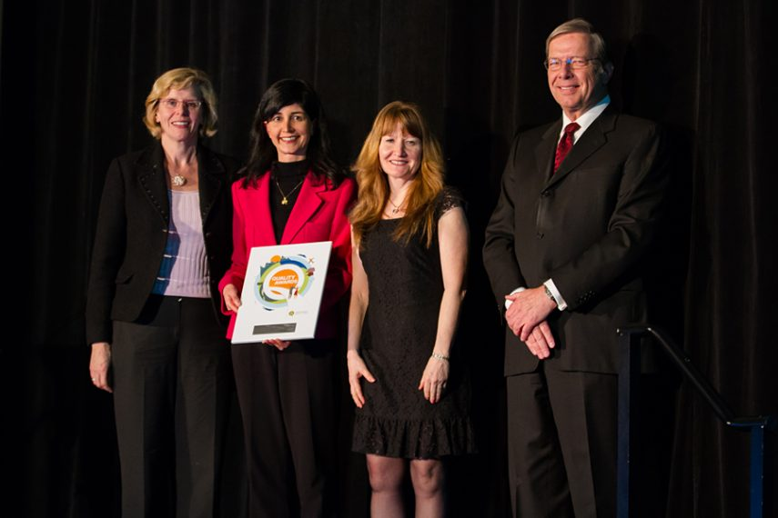 Members of the BC Cancer Agency Patient VTE Prophylaxis Team accepting their plaque from BCPSQC Chair Doug Cochrane at Health Talks