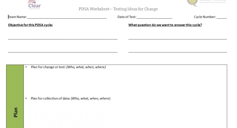 PDSA Testing Ideas Worksheet – Clear Wave 3
