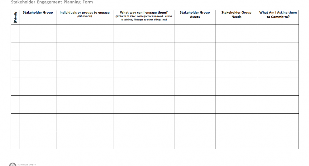 Stakeholder Engagement Planning Form – Clear Wave 3