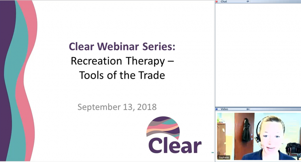Clear Monthly Webinar: Recreation Therapy: Tools of the Trade