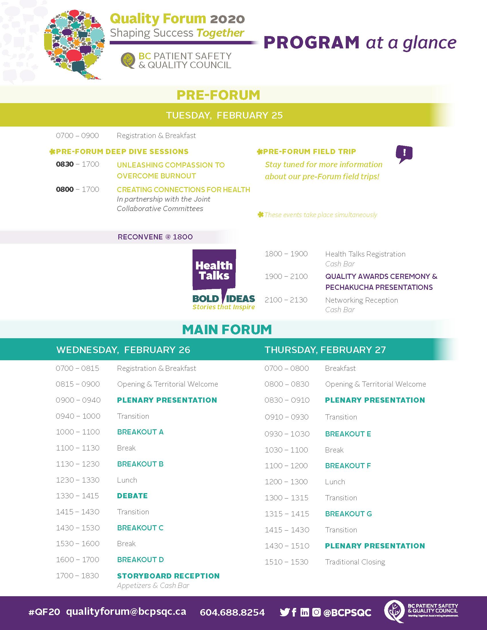 Quality Forum 2020 Program at a Glance