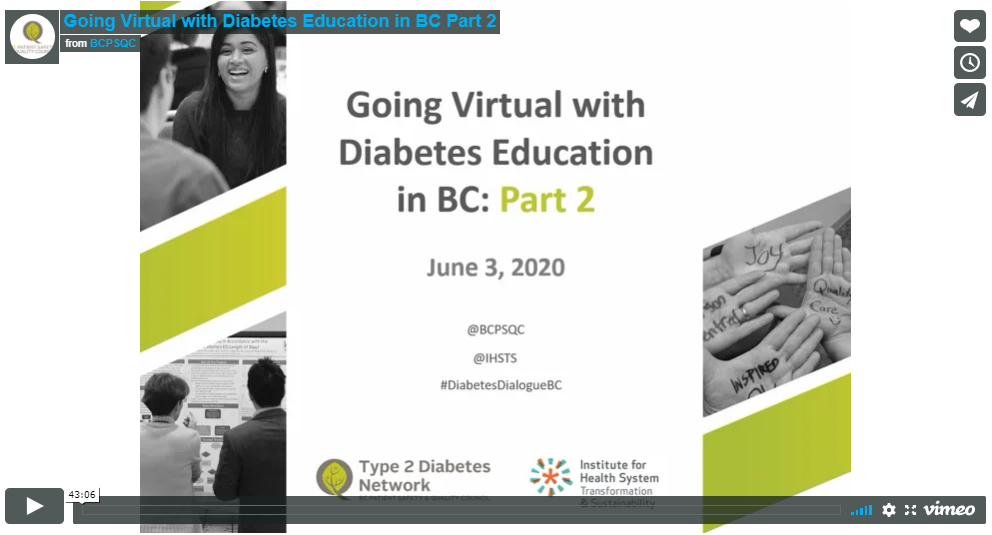 Going Virtual with Diabetes Education in BC: Part 2